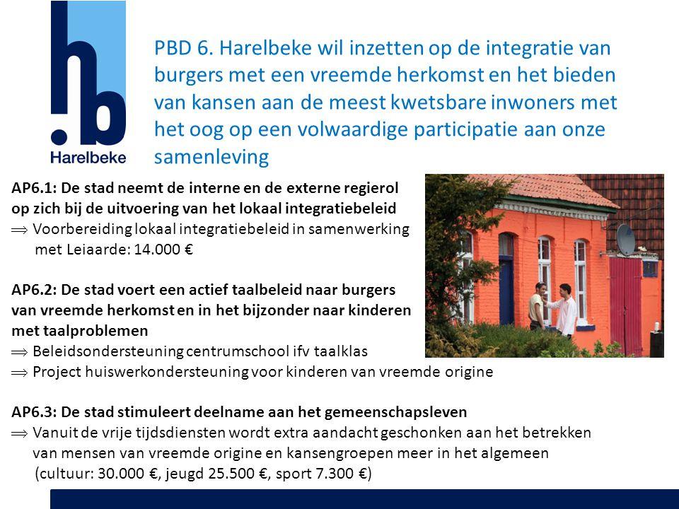 PBD 6. Harelbeke wil inzetten op de integratie van burgers met een vreemde herkomst en het bieden van kansen aan de meest kwetsbare inwoners met het o