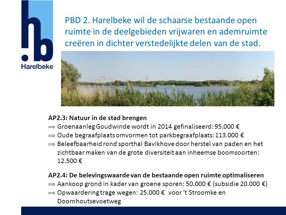 PBD 2. Harelbeke wil de schaarse bestaande open ruimte in de deelgebieden vrijwaren en ademruimte creëren in dichter verstedelijkte delen van de stad.