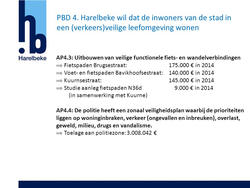 PBD 4. Harelbeke wil dat de inwoners van de stad in een (verkeers)veilige leefomgeving wonen AP4.3: Uitbouwen van veilige functionele fiets- en wandel