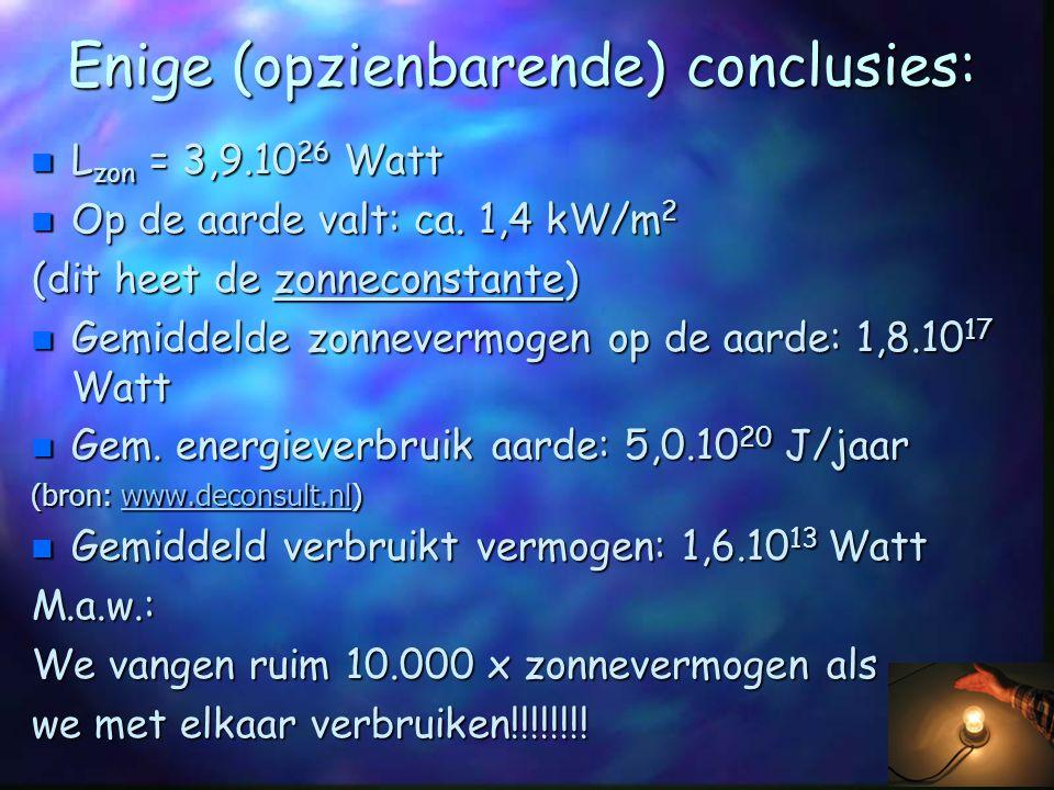Enige (opzienbarende) conclusies: n L zon = 3,9.10 26 Watt n Op de aarde valt: ca. 1,4 kW/m 2 (dit heet de zonneconstante) n Gemiddelde zonnevermogen