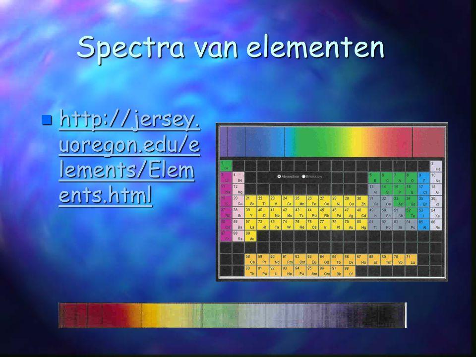 Spectra van elementen  http://jersey. uoregon.edu/e lements/Elem ents.html http://jersey. uoregon.edu/e lements/Elem ents.html http://jersey. uoregon