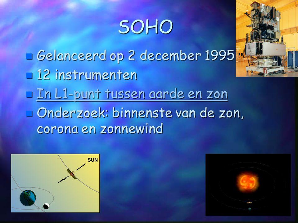 SOHO n Gelanceerd op 2 december 1995 n 12 instrumenten n In L1-punt tussen aarde en zon In L1-punt tussen aarde en zon In L1-punt tussen aarde en zon