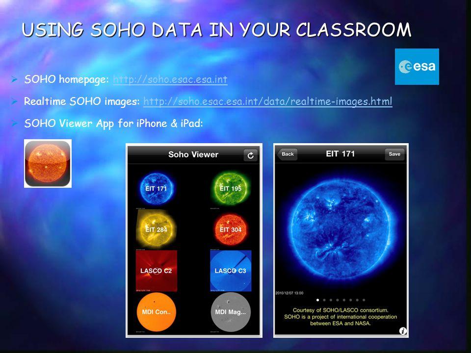 USING SOHO DATA IN YOUR CLASSROOM  SOHO homepage: http://soho.esac.esa.inthttp://soho.esac.esa.int  Realtime SOHO images: http://soho.esac.esa.int/d