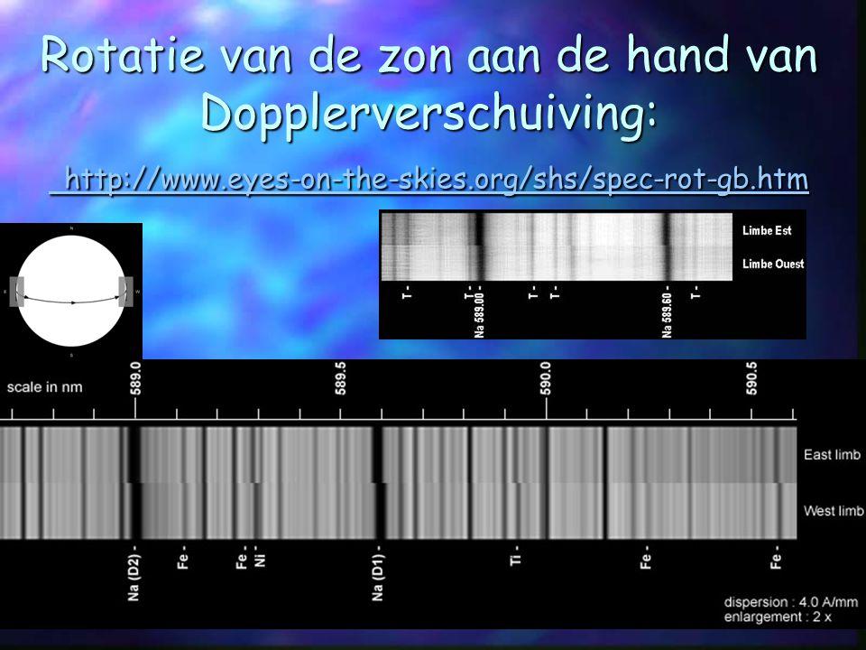 Rotatie van de zon aan de hand van Dopplerverschuiving: http://www.eyes-on-the-skies.org/shs/spec-rot-gb.htm http://www.eyes-on-the-skies.org/shs/spec