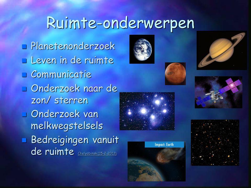 Ruimte-onderwerpen n Planetenonderzoek n Leven in de ruimte n Communicatie n Onderzoek naar de zon/ sterren n Onderzoek van melkwegstelsels n Bedreigi
