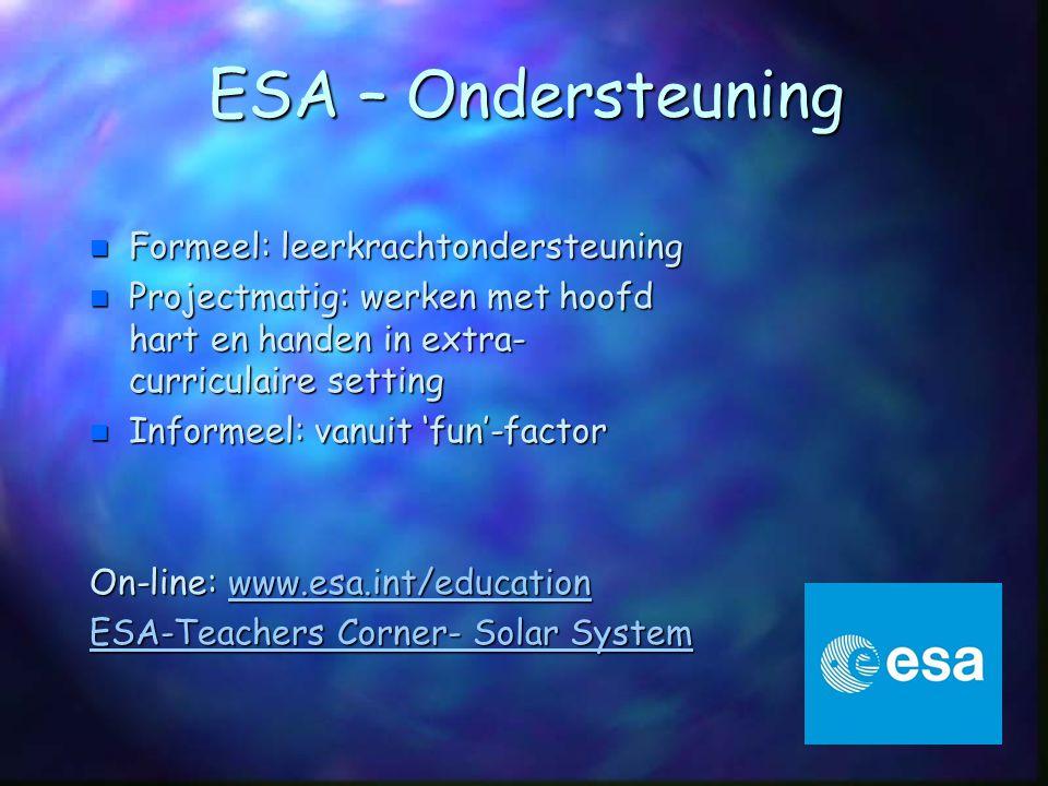 Lesmaterialen ESERO/ESA: http://www.ruimtevaartindeklas.nl/lespakketten http://www.ruimtevaartindeklas.nl/lespakketten n Voor groep 1/2, 3/4, 5/6, 7/8 - Zonnestelsel - Leven op aarde - De zon in actie - Het heelal - Ruimtevaart n OB Voortgezet Onderwijs - Intro Ruimtevaart en Sterrenkunde - De Aarde - Het heelal - Ruimtevaart
