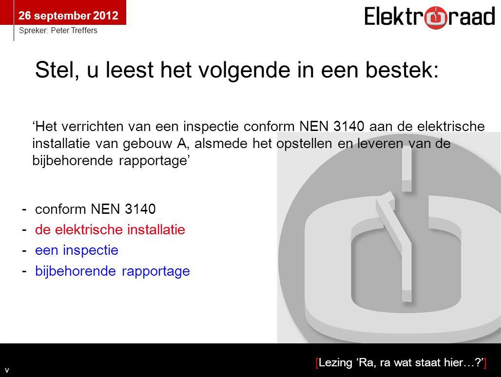 26 september 2012 [Lezing 'Ra, ra wat staat hier…?'] Spreker: Peter Treffers 'Het verrichten van een inspectie conform NEN 3140 aan de elektrische ins
