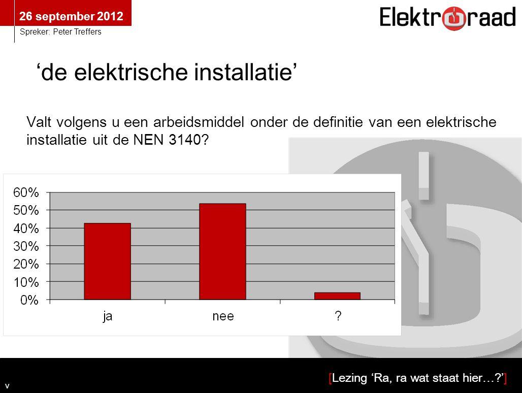 26 september 2012 [Lezing 'Ra, ra wat staat hier…?'] Spreker: Peter Treffers 'de elektrische installatie' Valt volgens u een arbeidsmiddel onder de definitie van een elektrische installatie uit de NEN 3140.