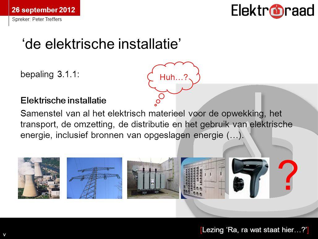 26 september 2012 [Lezing 'Ra, ra wat staat hier…?'] Spreker: Peter Treffers 'de elektrische installatie' bepaling 3.1.1: Elektrische installatie Same