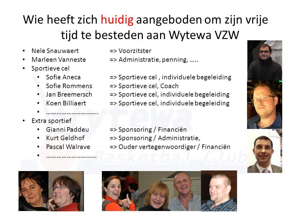 Wie heeft zich huidig aangeboden om zijn vrije tijd te besteden aan Wytewa VZW • Nele Snauwaert => Voorzitster • Marleen Vanneste => Administratie, penning, …..
