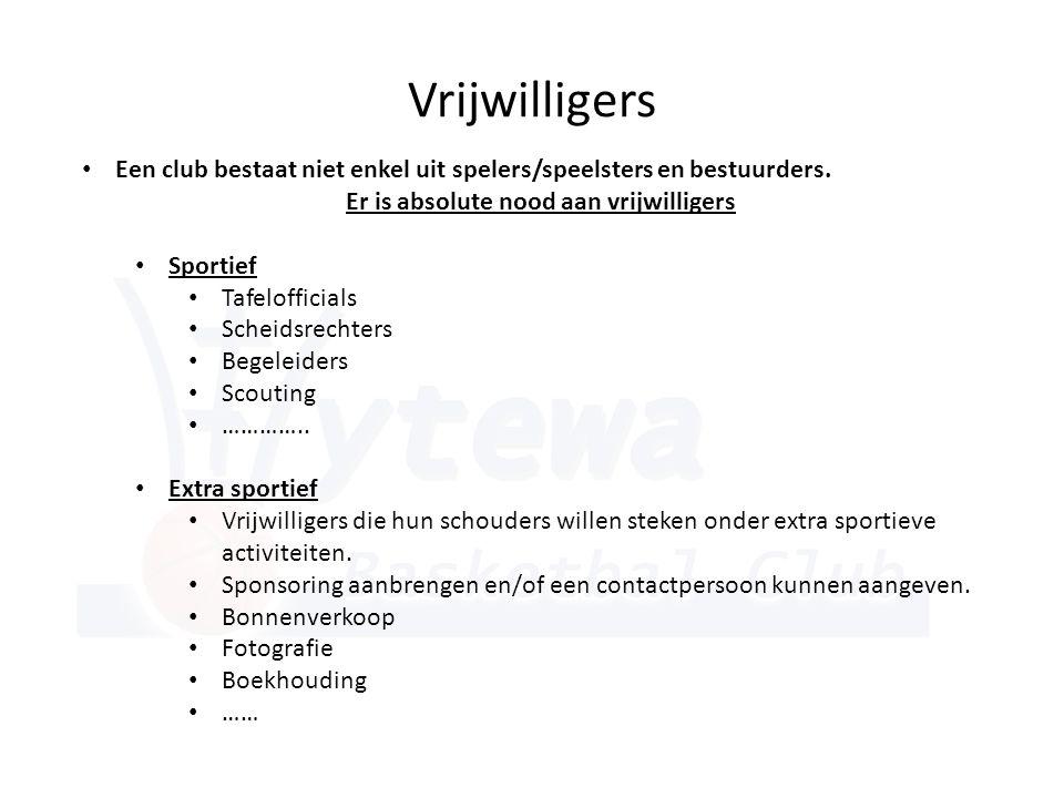 Vrijwilligers • Een club bestaat niet enkel uit spelers/speelsters en bestuurders. Er is absolute nood aan vrijwilligers • Sportief • Tafelofficials •