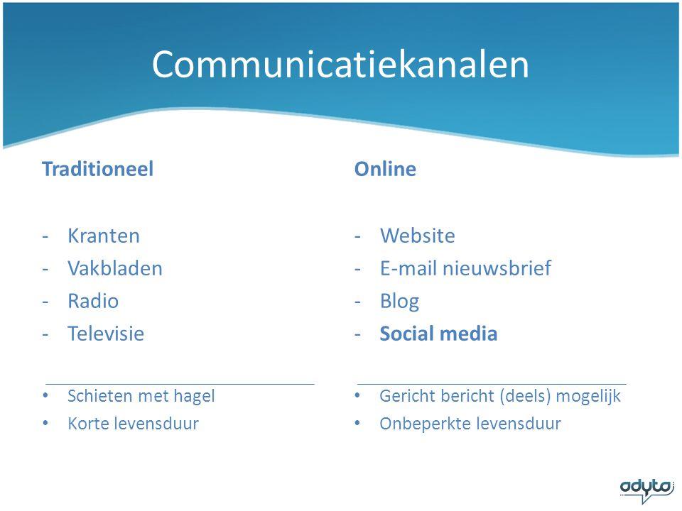 Eigenschappen Social Media • Participatie – ontvangers hebben de mogelijkheid te reageren.