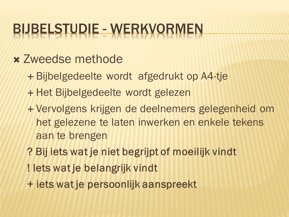  Zweedse methode  Bijbelgedeelte wordt afgedrukt op A4-tje  Het Bijbelgedeelte wordt gelezen  Vervolgens krijgen de deelnemers gelegenheid om het