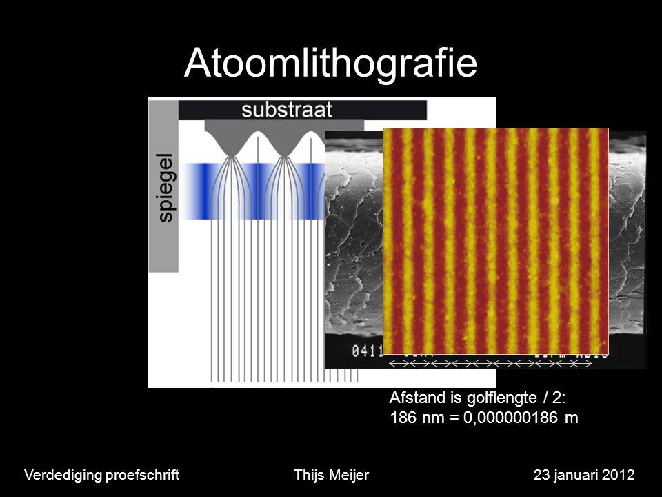 Atoomlithografie Verdediging proefschriftThijs Meijer23 januari 2012 Afstand is golflengte / 2: 186 nm = 0,000000186 m