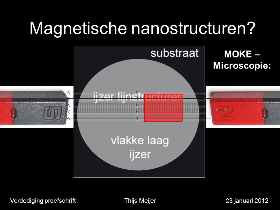 Magnetische nanostructuren? Verdediging proefschriftThijs Meijer23 januari 2012 MOKE – Microscopie: