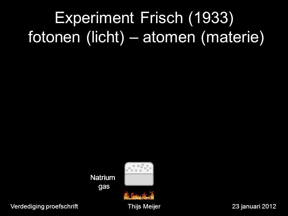 Experiment Frisch (1933) fotonen (licht) – atomen (materie) Verdediging proefschriftThijs Meijer23 januari 2012 Natrium gas Natrium