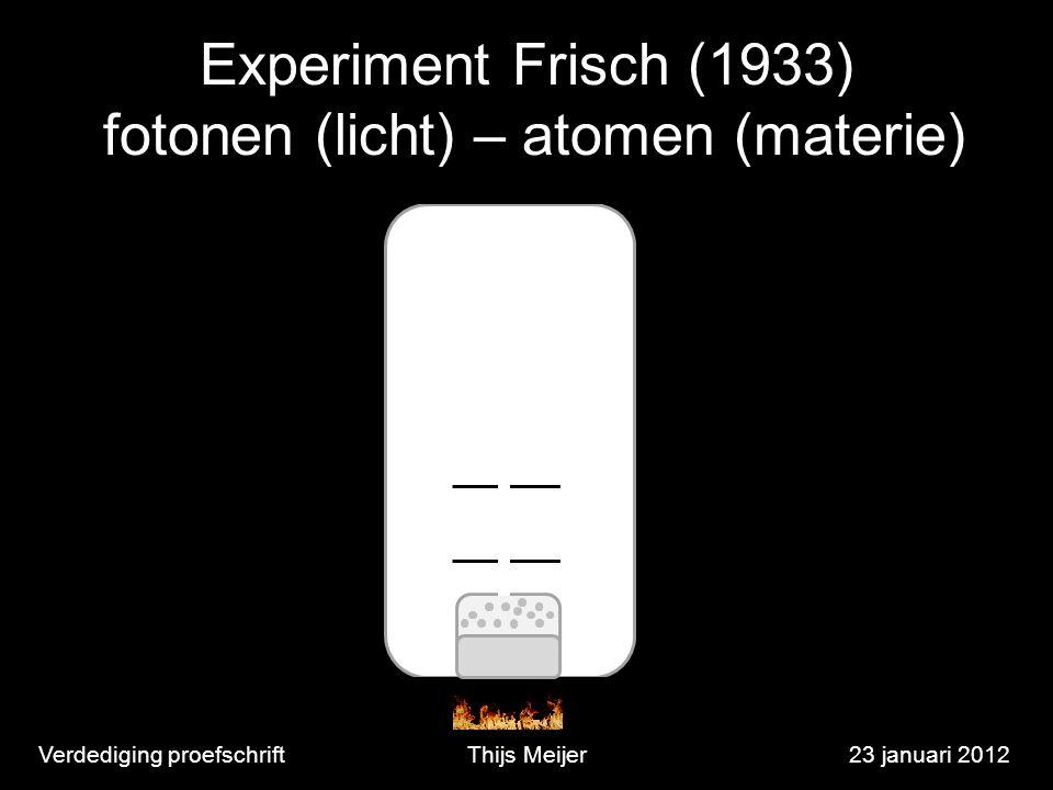 Verdediging proefschriftThijs Meijer23 januari 2012 Experiment Frisch (1933) fotonen (licht) – atomen (materie)