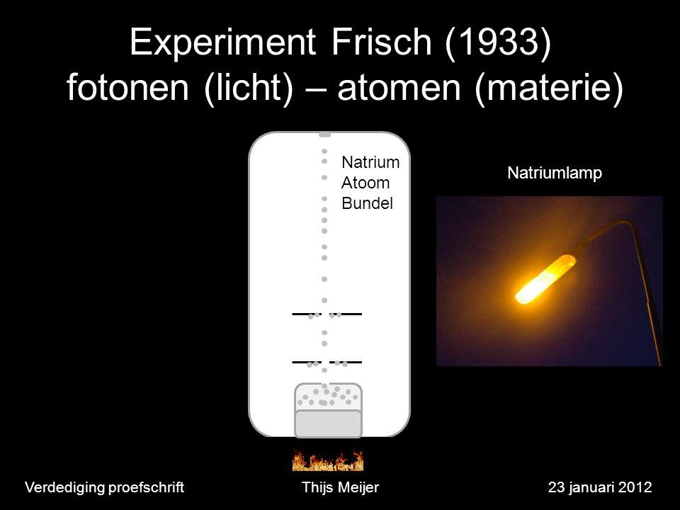 Verdediging proefschriftThijs Meijer23 januari 2012 Experiment Frisch (1933) fotonen (licht) – atomen (materie) Natrium Atoom Bundel Natriumlamp