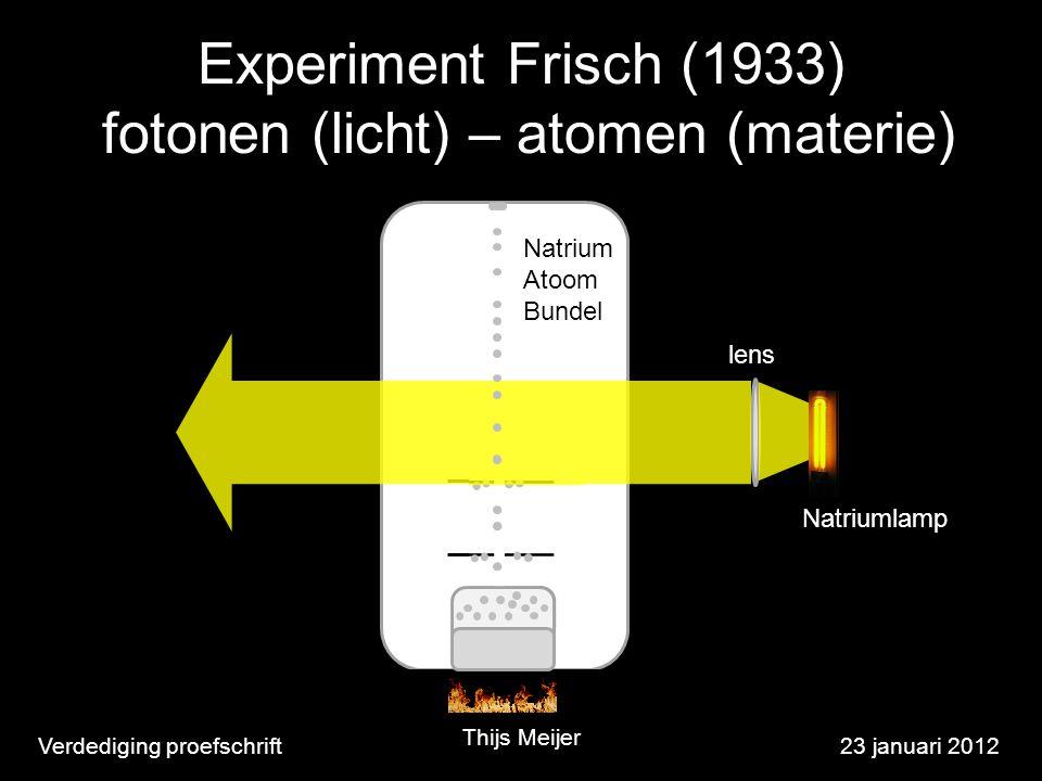 Verdediging proefschrift23 januari 2012 Natrium Atoom Bundel lens Experiment Frisch (1933) fotonen (licht) – atomen (materie) Thijs Meijer Natriumlamp