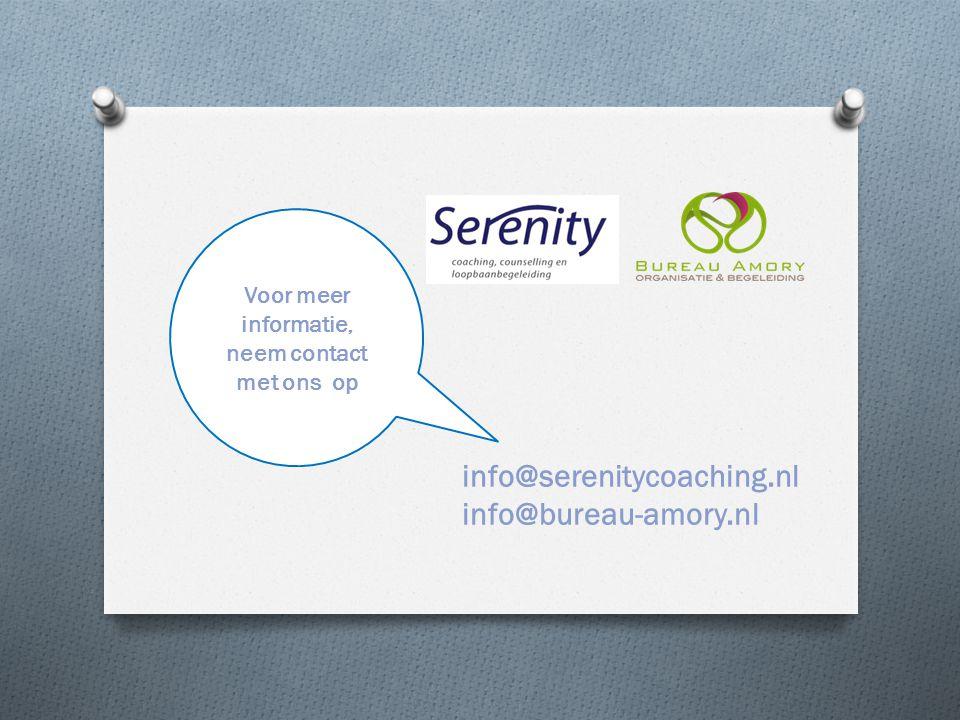 Voor meer informatie, neem contact met ons op info@serenitycoaching.nl info@bureau-amory.nl