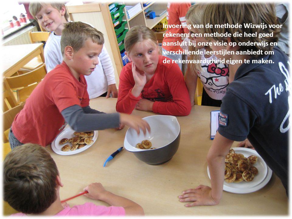 Invoering van de methode Wizwijs voor rekenen: een methode die heel goed aansluit bij onze visie op onderwijs en verschillende leerstijlen aanbiedt om de rekenvaardigheid eigen te maken.