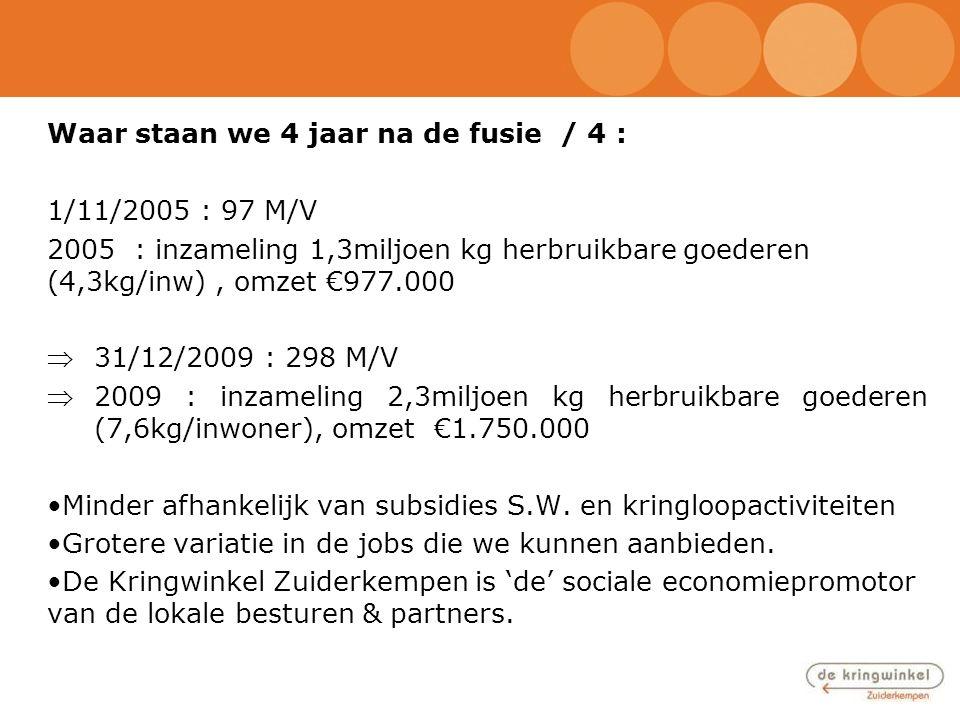 Waar staan we 4 jaar na de fusie / 4 : 1/11/2005 : 97 M/V 2005 : inzameling 1,3miljoen kg herbruikbare goederen (4,3kg/inw), omzet €977.000 31/12/200