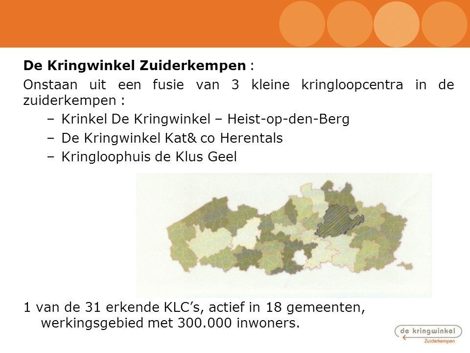 De Kringwinkel Zuiderkempen : Onstaan uit een fusie van 3 kleine kringloopcentra in de zuiderkempen : –Krinkel De Kringwinkel – Heist-op-den-Berg –De