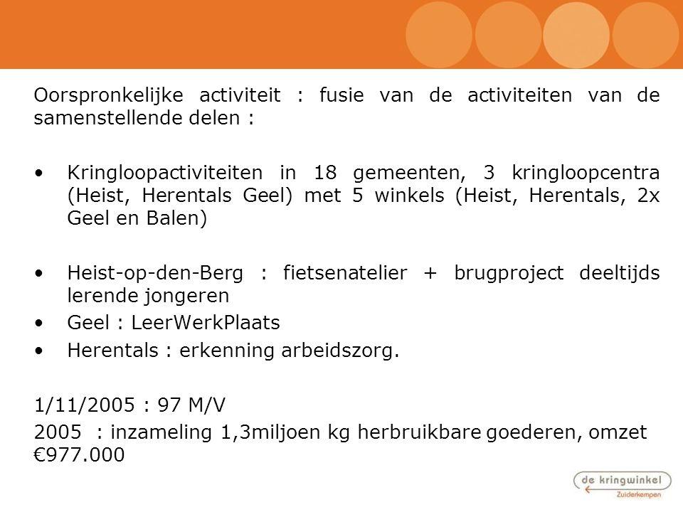 Oorspronkelijke activiteit : fusie van de activiteiten van de samenstellende delen : •Kringloopactiviteiten in 18 gemeenten, 3 kringloopcentra (Heist,