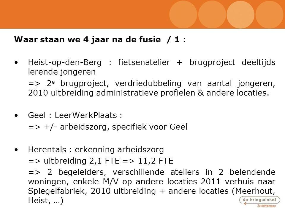 Waar staan we 4 jaar na de fusie / 1 : •Heist-op-den-Berg : fietsenatelier + brugproject deeltijds lerende jongeren => 2 e brugproject, verdriedubbeli