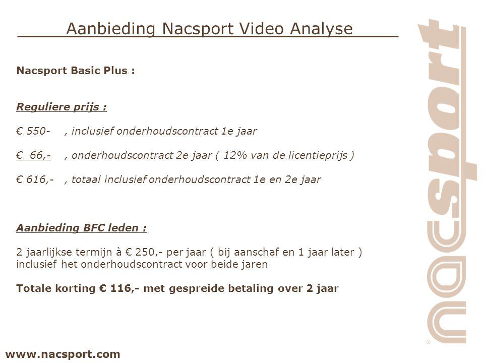 www.nacsport.com Aanbieding Nacsport Video Analyse Nacsport Basic Plus : Reguliere prijs : € 550-, inclusief onderhoudscontract 1e jaar € 66,-, onderh