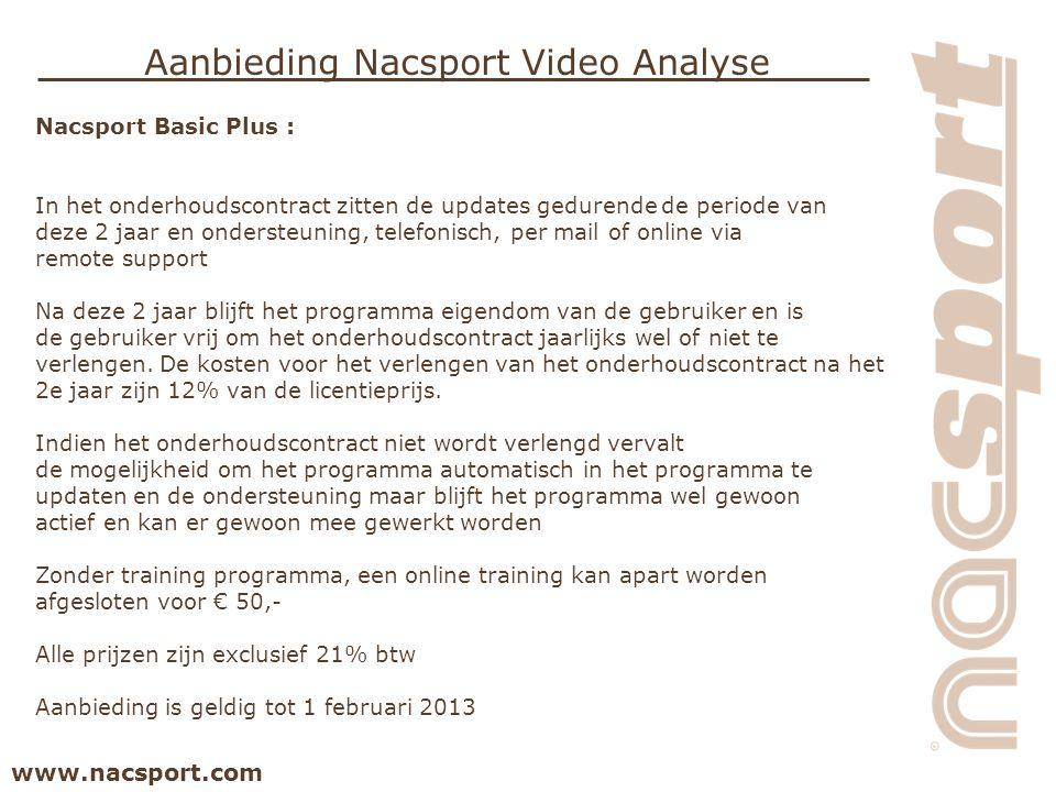 www.nacsport.com Aanbieding Nacsport Video Analyse Nacsport Basic Plus : In het onderhoudscontract zitten de updates gedurende de periode van deze 2 j