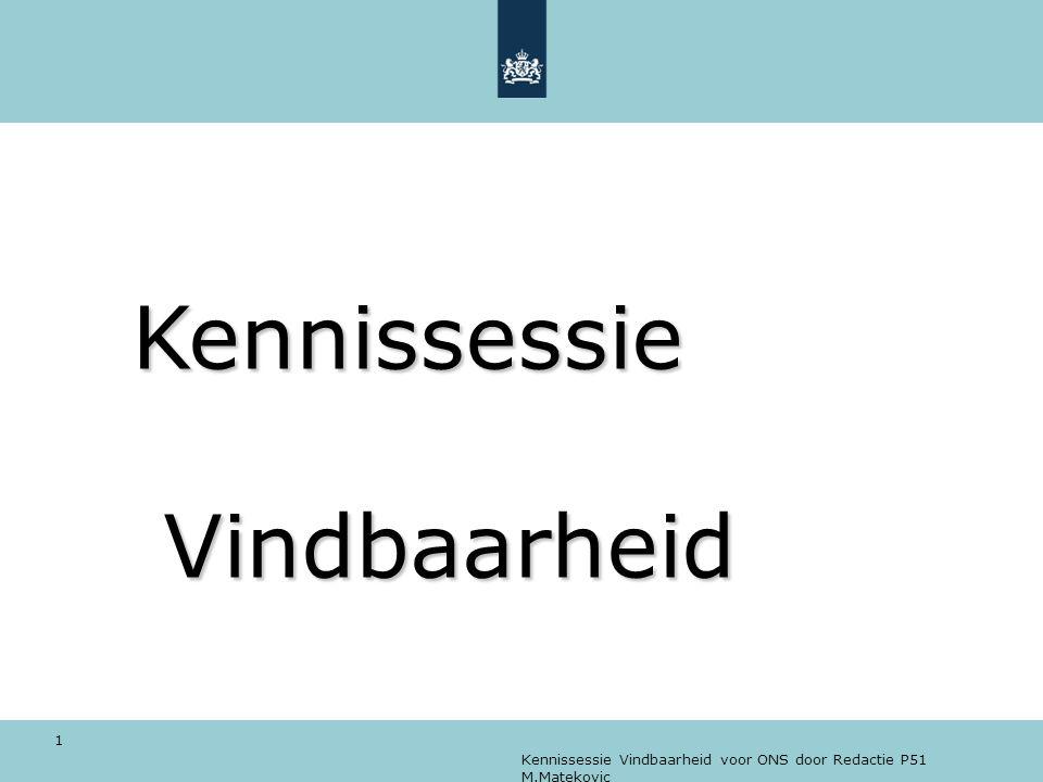 Kennissessie Vindbaarheid voor ONS door Redactie P51 M.Matekovic 1 Kennissessie Vindbaarheid Kennissessie Vindbaarheid