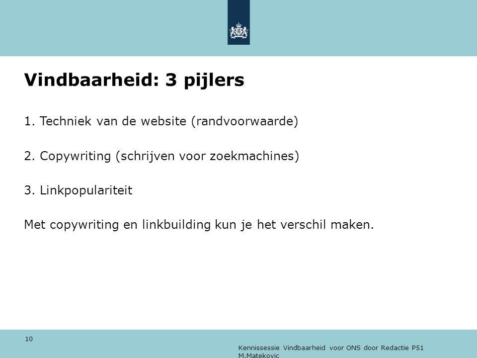 Kennissessie Vindbaarheid voor ONS door Redactie P51 M.Matekovic 10 Vindbaarheid: 3 pijlers 1. Techniek van de website (randvoorwaarde) 2. Copywriting