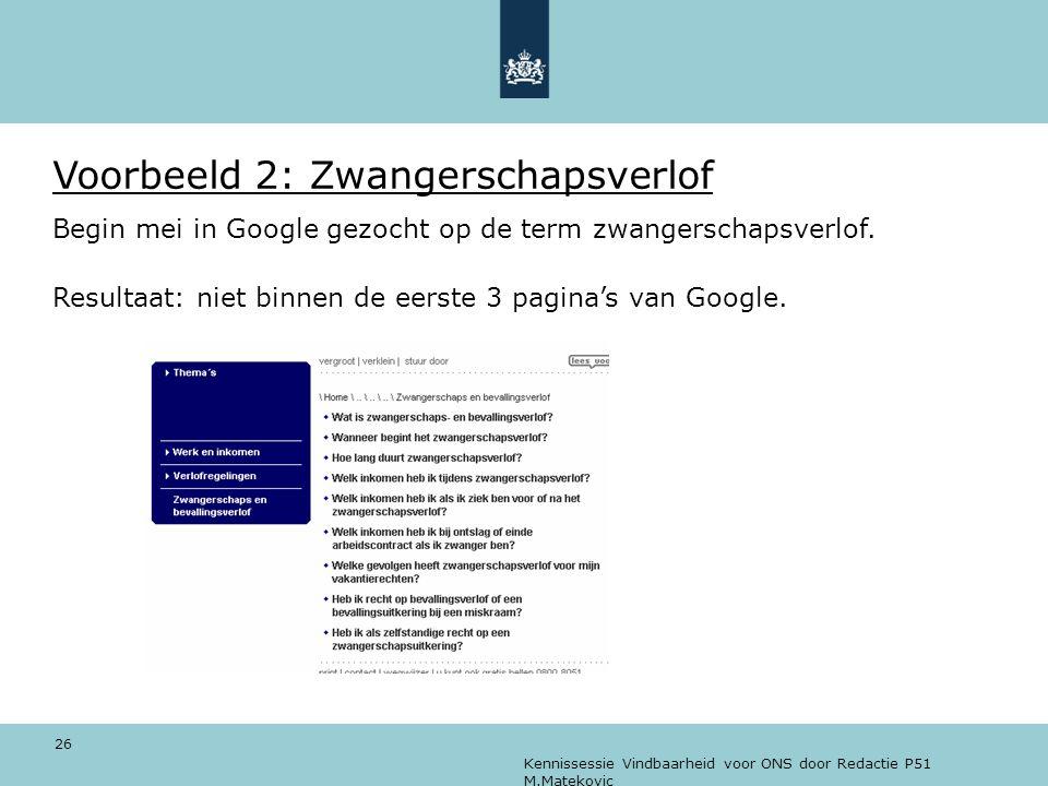 Kennissessie Vindbaarheid voor ONS door Redactie P51 M.Matekovic 26 Voorbeeld 2: Zwangerschapsverlof Begin mei in Google gezocht op de term zwangersch