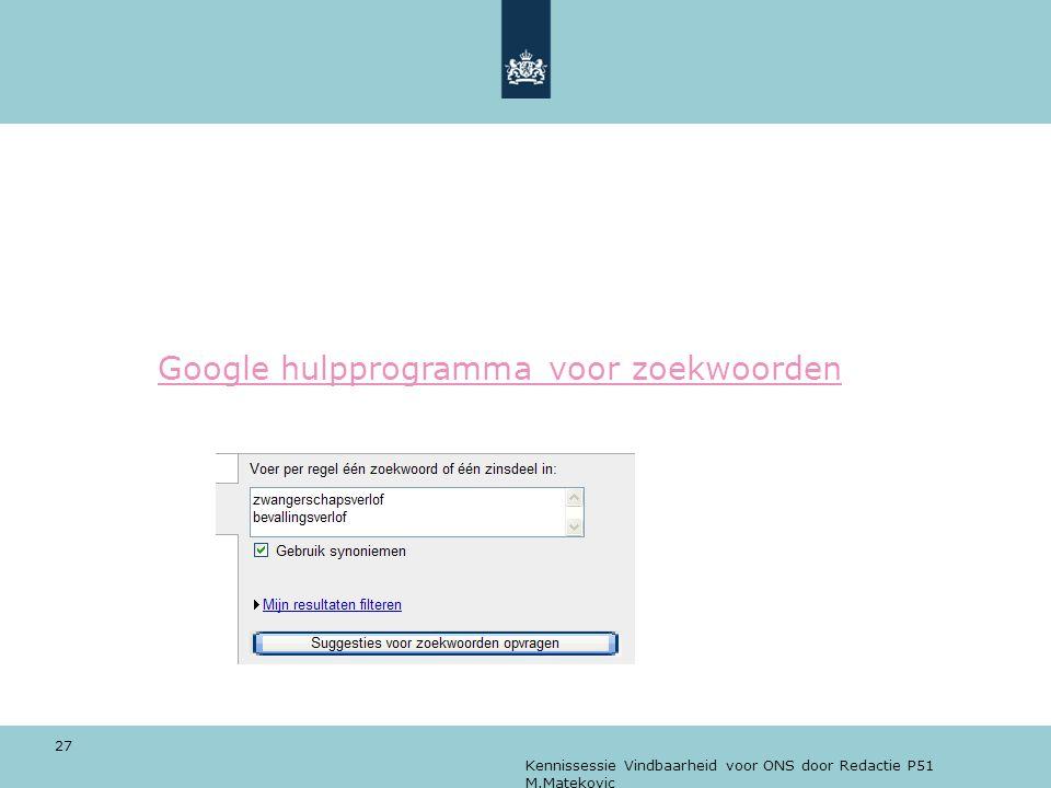 Kennissessie Vindbaarheid voor ONS door Redactie P51 M.Matekovic 27 Google hulpprogramma voor zoekwoorden