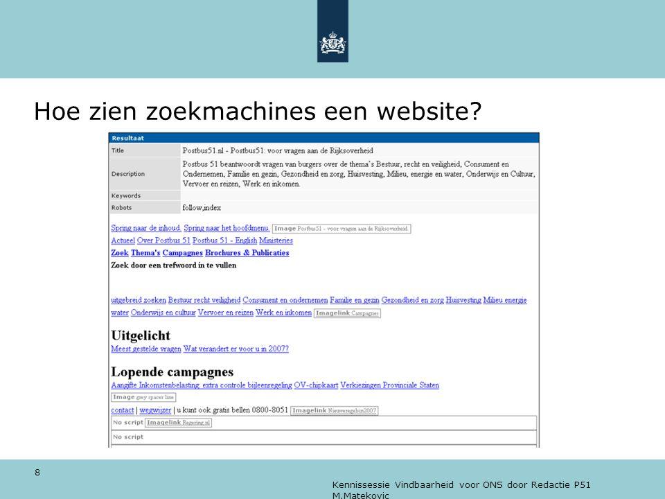 Kennissessie Vindbaarheid voor ONS door Redactie P51 M.Matekovic 8 Hoe zien zoekmachines een website?