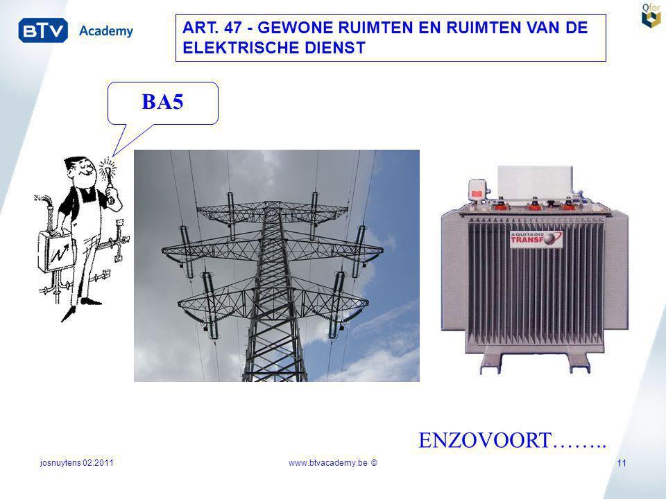 josnuytens 02.2011 11 ART. 47 - GEWONE RUIMTEN EN RUIMTEN VAN DE ELEKTRISCHE DIENST ENZOVOORT…….. BA5 www.btvacademy.be ©