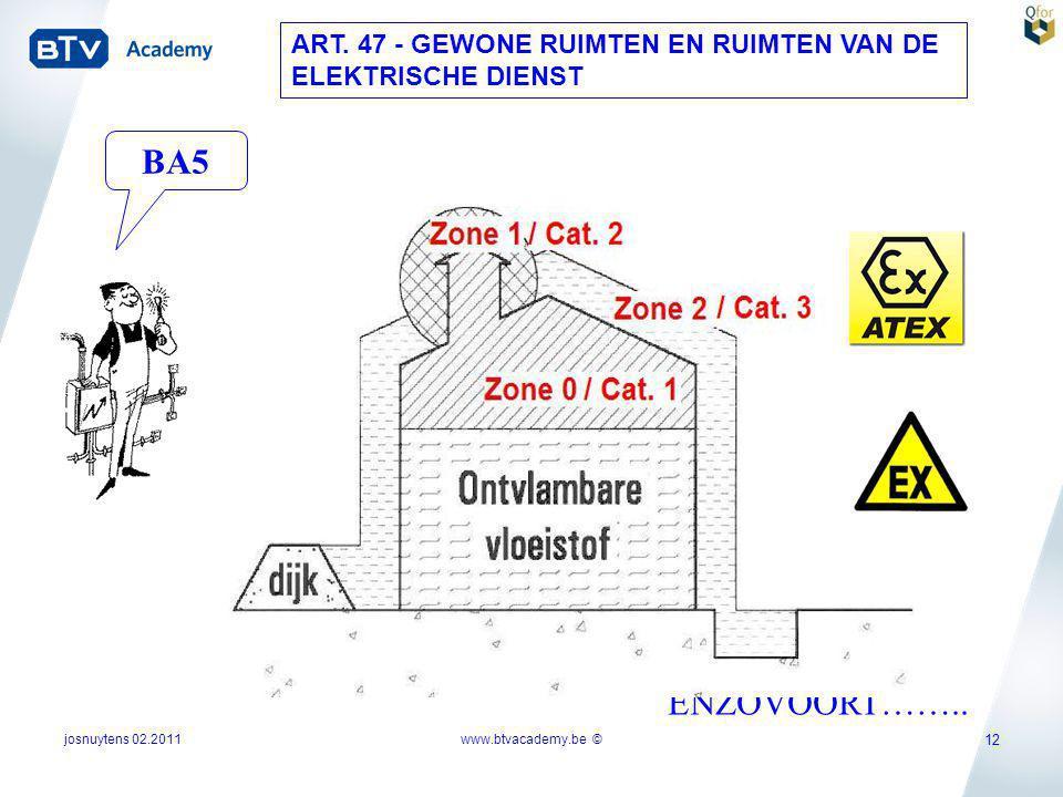 josnuytens 02.2011 12 ART. 47 - GEWONE RUIMTEN EN RUIMTEN VAN DE ELEKTRISCHE DIENST ENZOVOORT…….. BA5 www.btvacademy.be ©