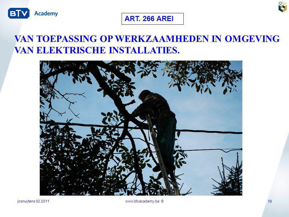 josnuytens 02.2011 19 ART. 266 AREI VAN TOEPASSING OP WERKZAAMHEDEN IN OMGEVING VAN ELEKTRISCHE INSTALLATIES. www.btvacademy.be ©