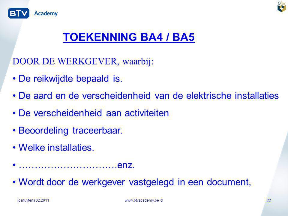 josnuytens 02.2011 22 TOEKENNING BA4 / BA5 DOOR DE WERKGEVER, waarbij: • De reikwijdte bepaald is. • De aard en de verscheidenheid van de elektrische