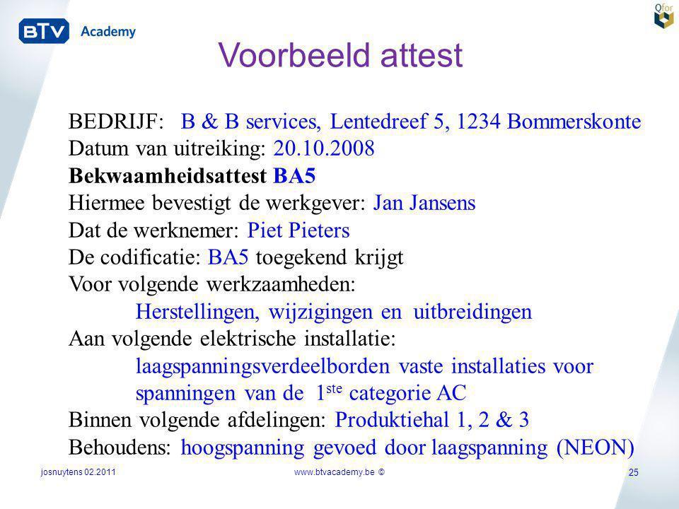 josnuytens 02.2011 25 BEDRIJF: B & B services, Lentedreef 5, 1234 Bommerskonte Datum van uitreiking: 20.10.2008 Bekwaamheidsattest BA5 Hiermee bevesti