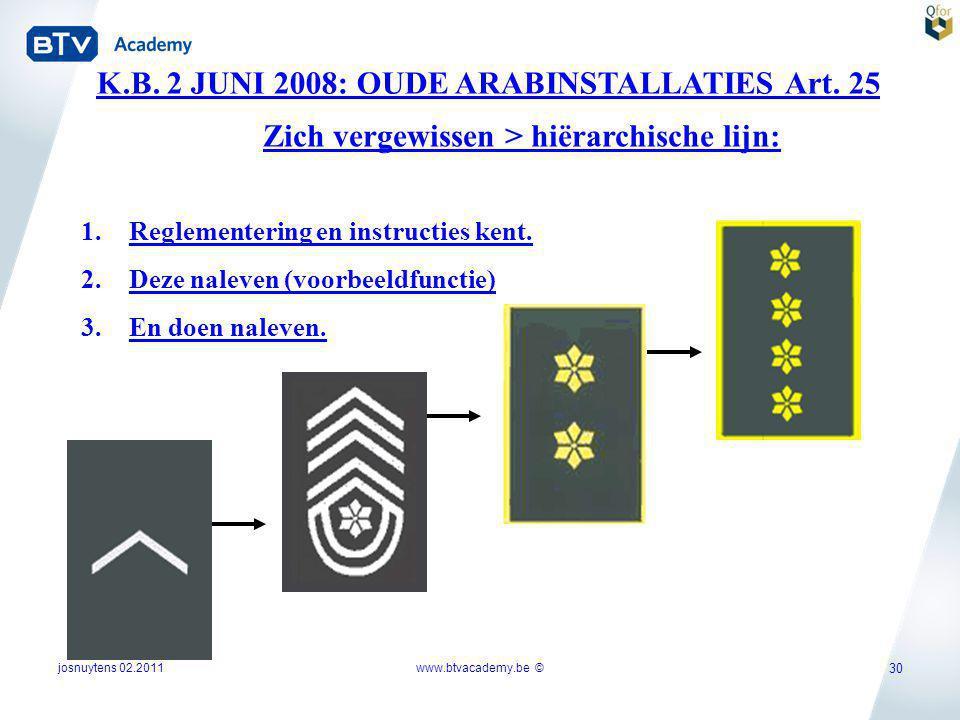 K.B. 2 JUNI 2008: OUDE ARABINSTALLATIES Art. 25 1.Reglementering en instructies kent. 2.Deze naleven (voorbeeldfunctie) 3.En doen naleven. Zich vergew