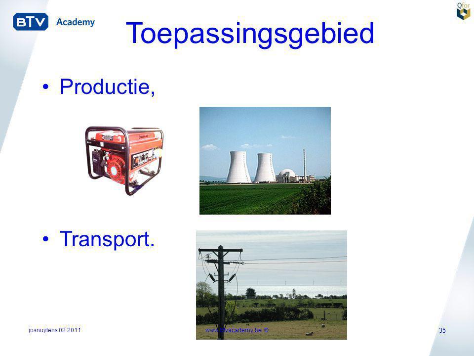 josnuytens 02.2011 35 Toepassingsgebied •Productie, •Transport. www.btvacademy.be ©