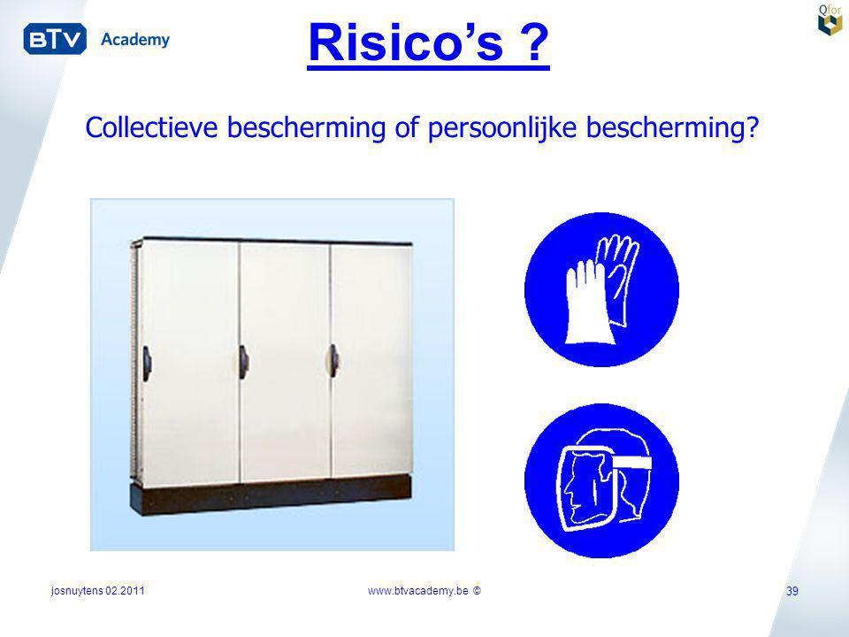 josnuytens 02.2011 39 Risico's ? Collectieve bescherming of persoonlijke bescherming? www.btvacademy.be ©