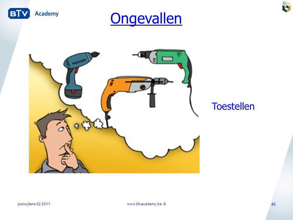 josnuytens 02.2011www.btvacademy.be © 46 Ongevallen Toestellen