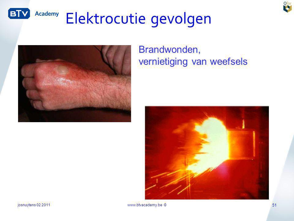 Brandwonden, vernietiging van weefsels Elektrocutie gevolgen josnuytens 02.2011 51 www.btvacademy.be ©