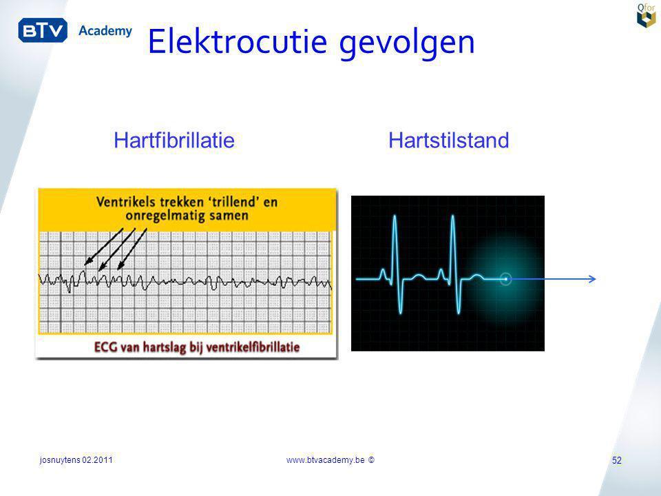 Hartfibrillatie Hartstilstand Elektrocutie gevolgen josnuytens 02.2011 52 www.btvacademy.be ©
