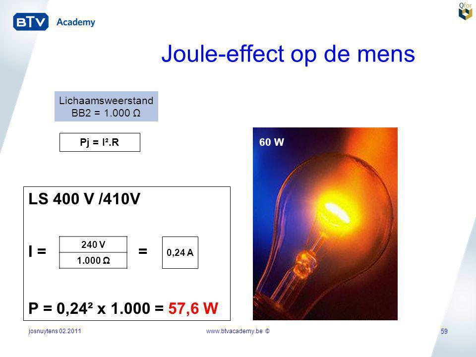 josnuytens 02.2011 59 Joule-effect op de mens Pj = I².R Lichaamsweerstand BB2 = 1.000 Ω 60 W LS 400 V /410V I = = P = 0,24² x 1.000 = 57,6 W 240 V 1.0