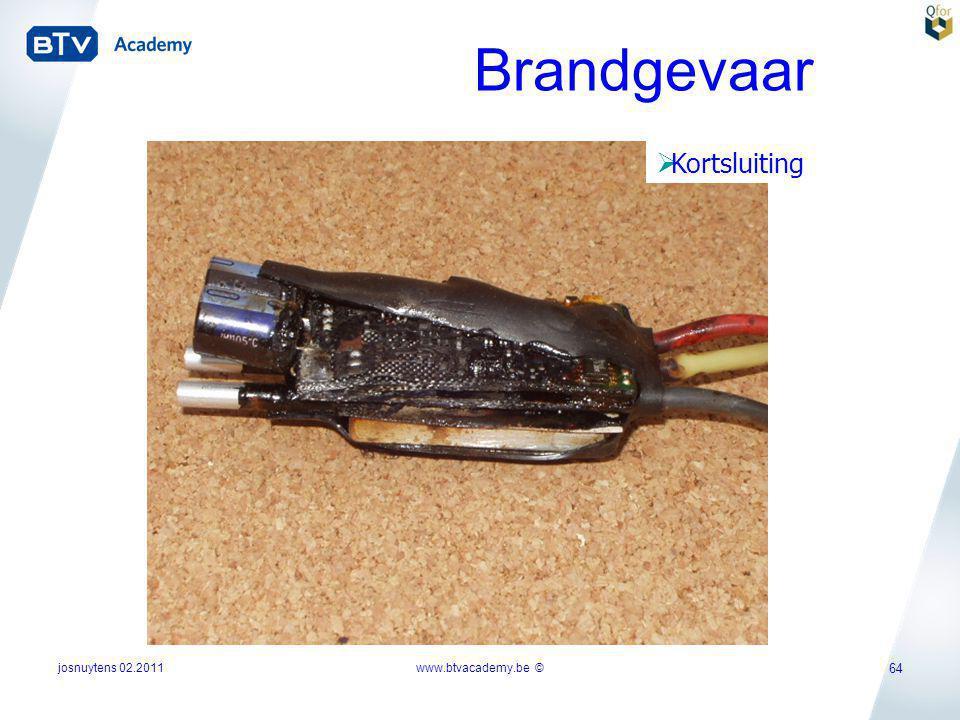 josnuytens 02.2011 64 Brandgevaar  Kortsluiting www.btvacademy.be ©