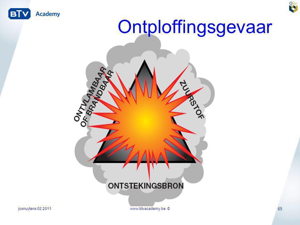josnuytens 02.2011 65 Ontploffingsgevaar www.btvacademy.be ©